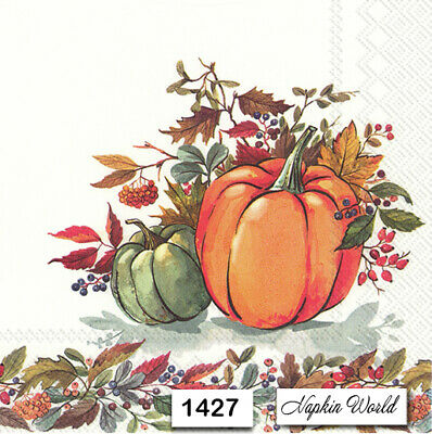 (1427) TWO Individual Paper Luncheon Decoupage Napkins - PUMPKINS AUTUMN LEAVES