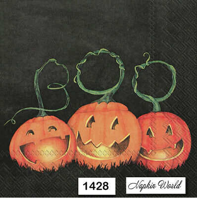 (1428) TWO Individual Paper Luncheon Decoupage Napkins - PUMPKINS HALLOWEEN BOO!