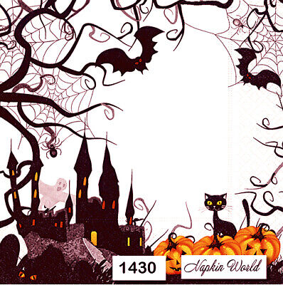 (1430) TWO Individual Paper Luncheon Decoupage Napkins - HALLOWEEN PUMPKINS BATS