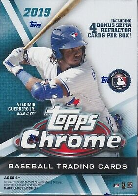 2019 Topps Chrome Baseball sealed blaster box 7 packs of 4 MLB cards sepia pack