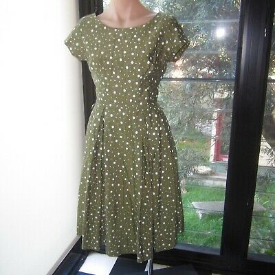 Vintage Horrockses Ladies Dress 1950s Green White Spot Cotton Fabric S14 SSW