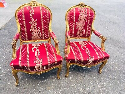 3 Pcs Antique Settee Chairs Gilt Gilded Gold Wine Victorian Ornate French Carved