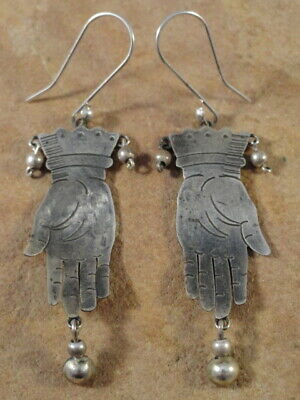 Mexican Mexico Sterling Silver Frida Hand Earrings