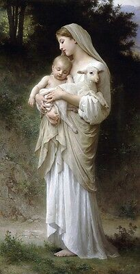 """oil painting handpainted on canvas """"A baby and a lamb in the arms of a woman""""829"""