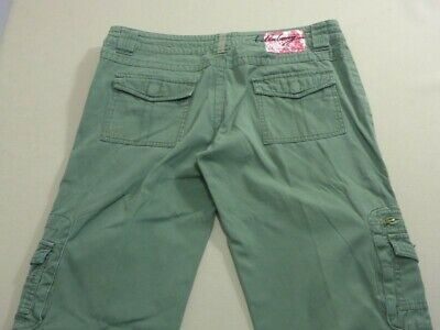 079 Womens Ex-Cond Billabong Relaxed Str8 Leg Khaki Cargo Pants Sze 10 $100 Rrp.