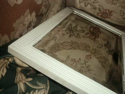 Antique Victorian Mirror Wood White Paint Beveled Glass Carved Frame VG