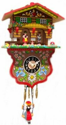 NEW Swinging Girl Clock WIth Cuckoo Westminster Chimein Light Wood