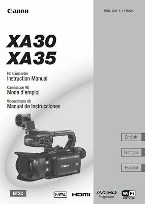 """Canon XA30 XA35 Instruction Owner User's Manual 8.5x11""""- COMPLETE 192 PAGES"""