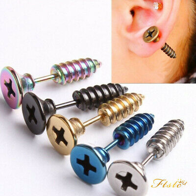 2pc Punk Gothic Cool Kpop GD Mens Fine Stainless Steel Whole Screw Stud Earrings