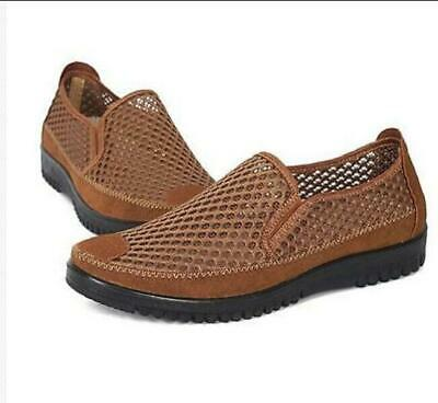 Mens Hollow Out Summer Breathable Loafers Casual Sandals Shoes Pull On Plus