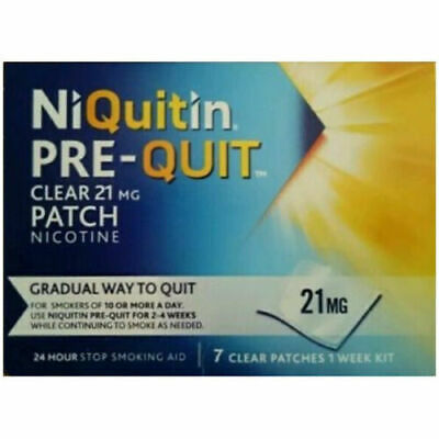 NiQuitin Pre-Quit Clear 24 Hour 7 Patches Quit Smoking Aid 21mg - 1 Week Kit