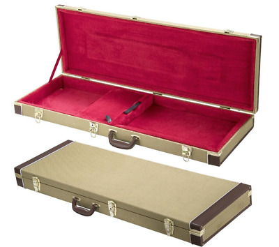 Tweed Hard Shell Guitar Stratocaster Case Telecaster Wood Lockable Deluxe Case