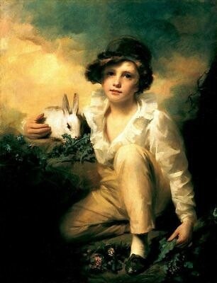 """perfect 24x36 oil painting handpainted on canvas""""Boy and Rabbit""""@15678"""