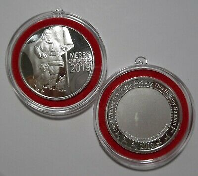 2 X 2019 Christmas Ornaments ~ Patriotic Santa W/ Dog & Cat ~ 1 Oz Silver Coins!