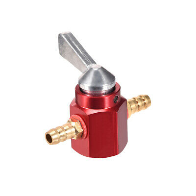 1/4 Inch CNC Gas Inline Petrol On-Off Fuel Tap Petcock Valve Switch Red