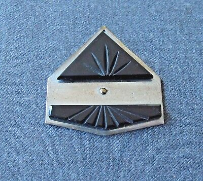 Antique 1920'S Art Deco Machine Age Carved Black Galalith Chromed Metal Pendant
