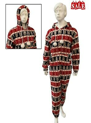 Ladies / girls all-in-one jumpsuit nightwear pyjamas soft fleece hooded