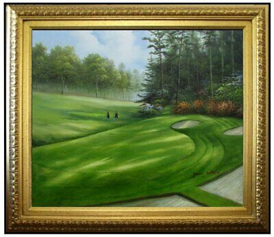 Framed, Lush Golf Course, Quality Hand Painted Oil Painting 20x24in