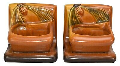 Roseville Pottery Pine Cone Brown Planter Book Ends 459
