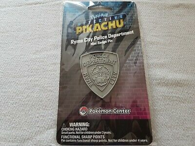 POKÉMON Detective Pikachu Ryme City Police Department Mini Badge Pin NEW