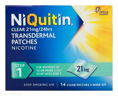 NiQuitin Clear 24 Hour 21mg 14 Patches Step1 - 2 Week Kit Nicotine Stop Smoking