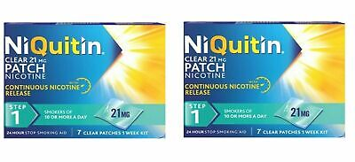 NiQuitin Clear 24 Hour 21mg 7 Patches Step1 -  Week Kit Nicotine Stop Smoking