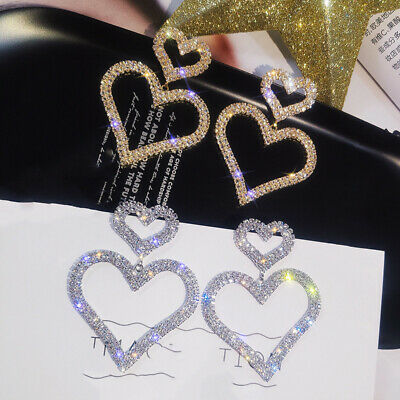 Women Fashion Heart Rhinestone Dangle Earrings Drop Ear Stud Earring Jewelry