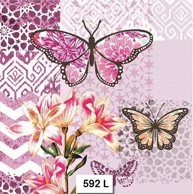 (592) TWO Individual Paper Luncheon Decoupage Napkins - BUTTERFLY LILIES FLOWERS
