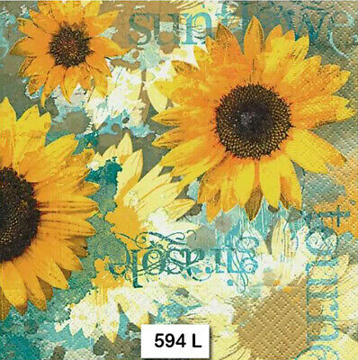 (594) TWO Individual Paper Luncheon Decoupage Napkins -SUNFLOWERS FLOWERS