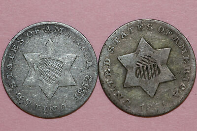 Lot of Two Good 1851 & Very Good 1852 Silver Three Cent Pieces (NUM4164)