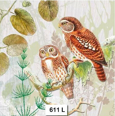 (611) TWO Individual Paper Luncheon Decoupage Napkins - OWLS PAIR BIRDS