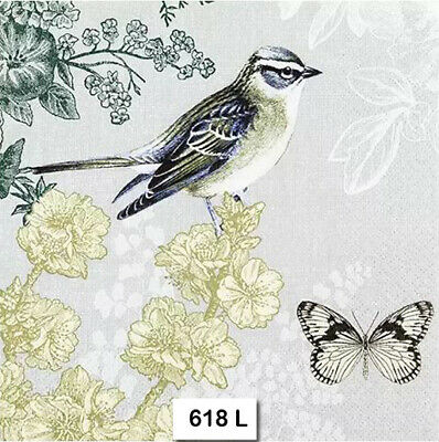 (618) TWO Individual Paper Luncheon Decoupage Napkins - BIRD BUTTERFLY FLOWERS