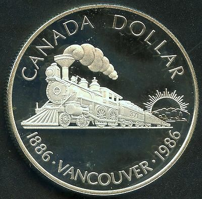 "1986 Canada Proof "" Vancouver 100th "" Silver Dollar (23.3 Grams .500 Silver)"