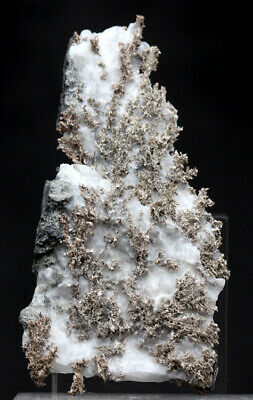 RARE NATIVE SILVER On Calcite Crystal Cluster Natural Mineral Specimen MOROCCO