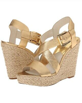 3701945baa9 MICHAEL KORS GIOVANNA Wedge Mandarin Leather Heels Shoes Sandals ...
