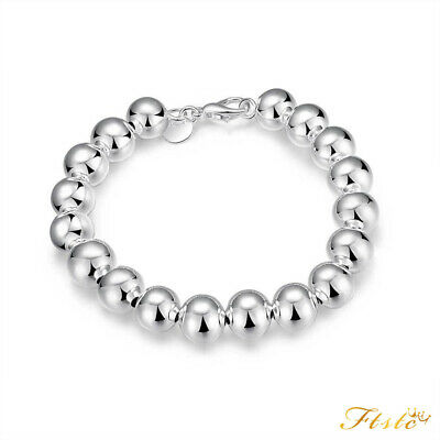 Classic Women's 925 Sterling Silver Layered Solid Ball Chain Bracelet Bangle