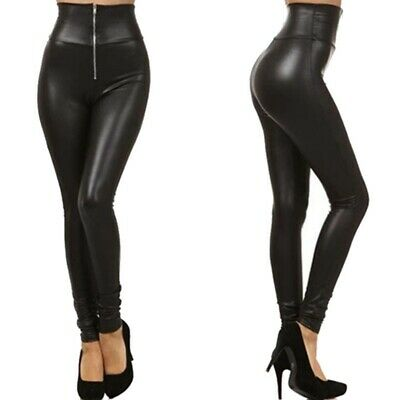 Sexy Women's Faux Leather Stretch Skinny Pants High Waist Leggings Slim Trousers