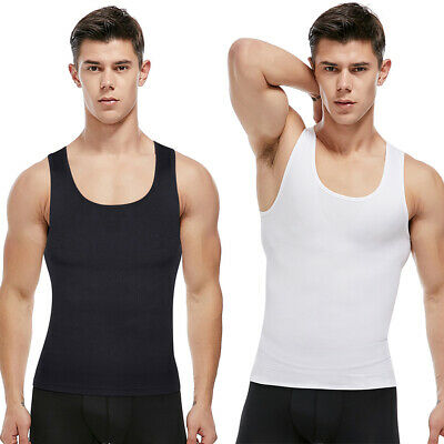Mens Slimming Body Shaper Vest Chest Compression Seamless Shirt Tank Top Corset