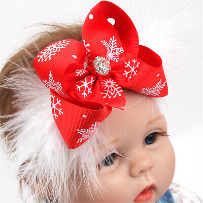 Newborn Infant Baby Hairband Snowflake Printed Ribbon Bow Feather Decor Headband