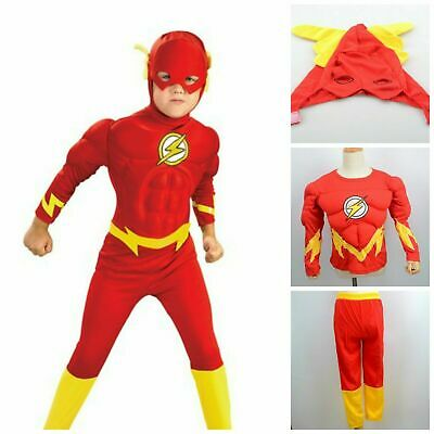 Halloween Kids The Flash Muscle Costume Superhero Fancy Dress Outfit Book Week