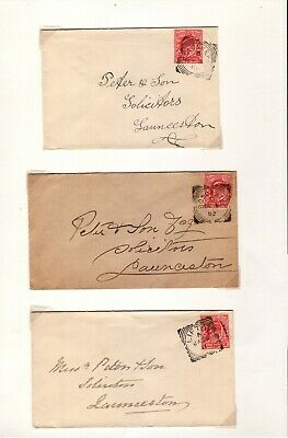 COLLECTION SG219 1d SCARLET DE LA RUE PRINTING SQUARED CIRCLE CANCELS ON COVERS