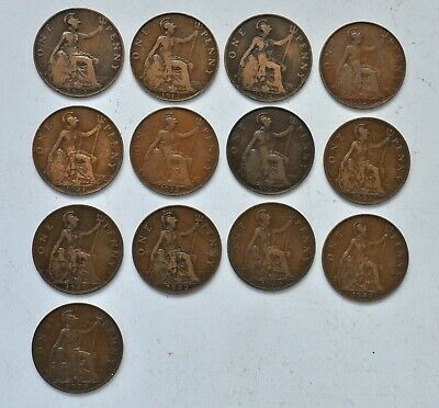 Date Run Of 13 George V Pennys, 1911 To 1936 British Coins Mostly Vf-Ef