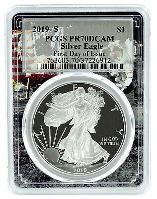 2019 S 1oz Silver Eagle Proof PCGS PR70 - First Day Issue Space Frame - PRESALE