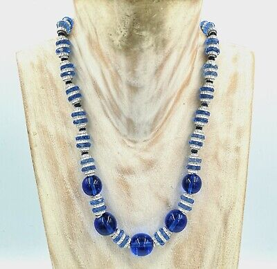 Beautiful Vintage Art Deco Chrome And Blue Glass Beaded Necklace