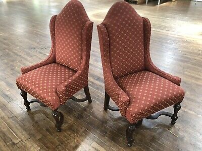 Pair Of William & Mary Style Stretcher Base Side Chairs