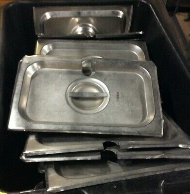 """Used Lot Of 10 1/4 Size Stainless Steel 6"""" Deep Steam Pan"""