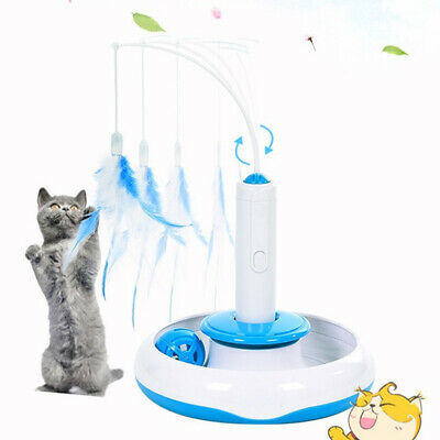 Feather Interactive Rotating Pet Cat Toys Electric Teaser Funny Cat Stick Toy UK