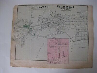 Antique 1873 Rockaway Woodsburgh Merrick Long Island New York Handcolor Map Rare