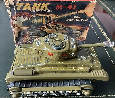 Tin Toy Panzer Tank M 41 Nomura Made in Japan Blechspielzeug OVP Batterie 60er