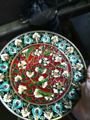 """Vintage, Handmade In Greece, Brass, 8"""" Plate With Vibrant Mosaic Enamel Inlay"""